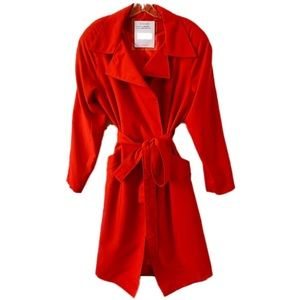 Red Trench Coat w/ Wrap Waist